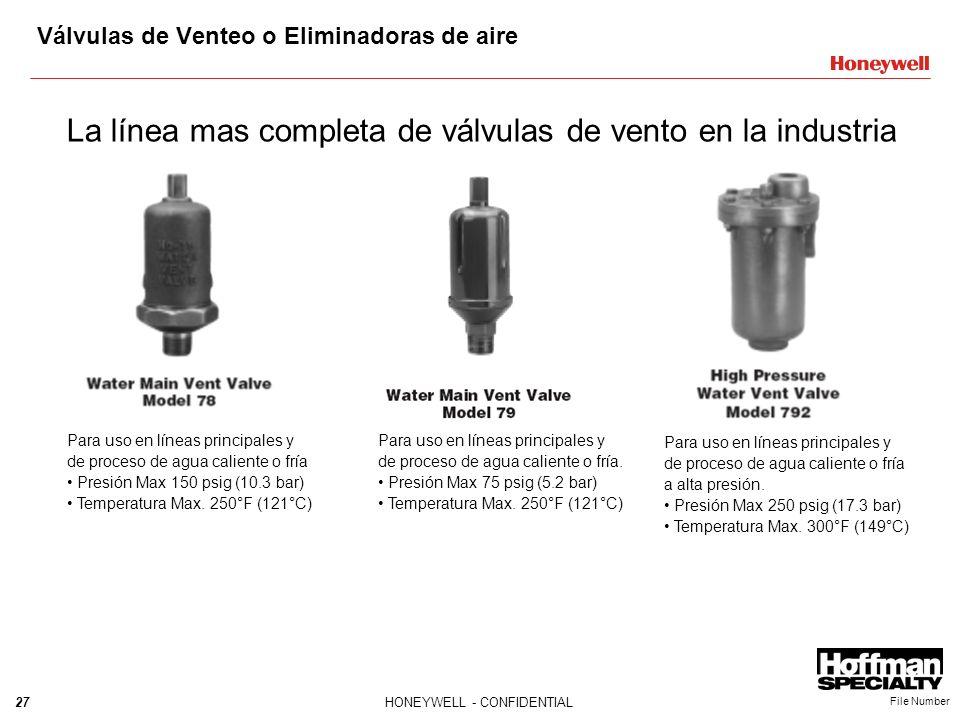 27HONEYWELL - CONFIDENTIAL File Number Válvulas de Venteo o Eliminadoras de aire La línea mas completa de válvulas de vento en la industria Para uso e