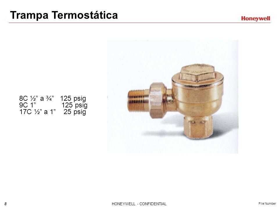 29HONEYWELL - CONFIDENTIAL File Number Rompedor de Vacío Model 62 Para uso en recipientes o sistemas de tuberías cerradas Ajustable desde 14 - 20 (8-508mm) Hg 34 NPT Máxima temperatura 366°F (186°C) Máxima presión 150 psig (10.3 bar)