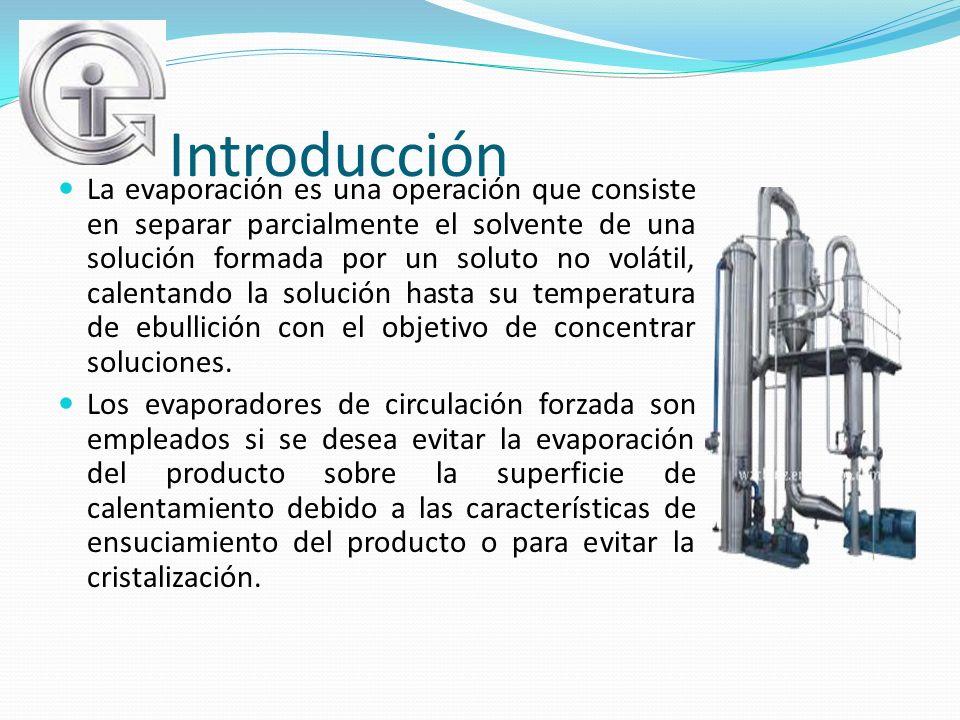 Introducción La evaporación es una operación que consiste en separar parcialmente el solvente de una solución formada por un soluto no volátil, calent