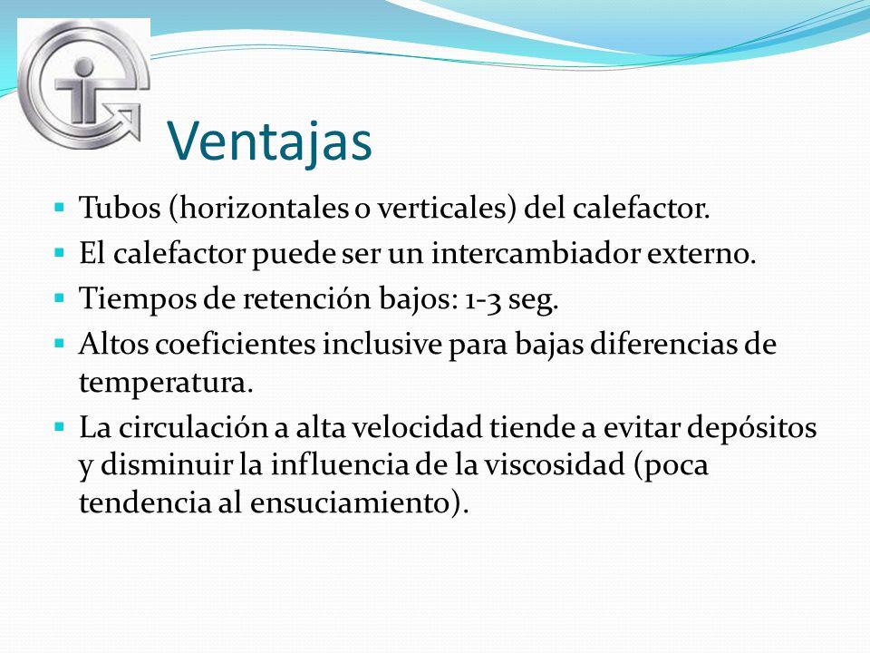 Ventajas Tubos (horizontales o verticales) del calefactor. El calefactor puede ser un intercambiador externo. Tiempos de retención bajos: 1-3 seg. Alt