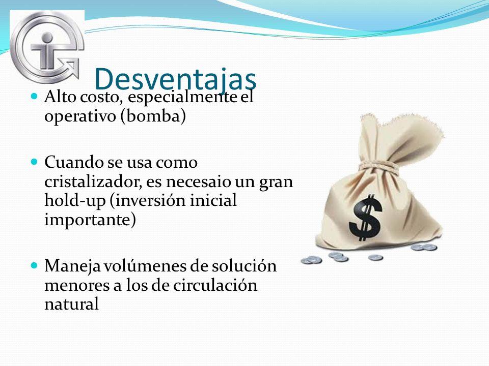 Desventajas Alto costo, especialmente el operativo (bomba) Cuando se usa como cristalizador, es necesaio un gran hold-up (inversión inicial importante