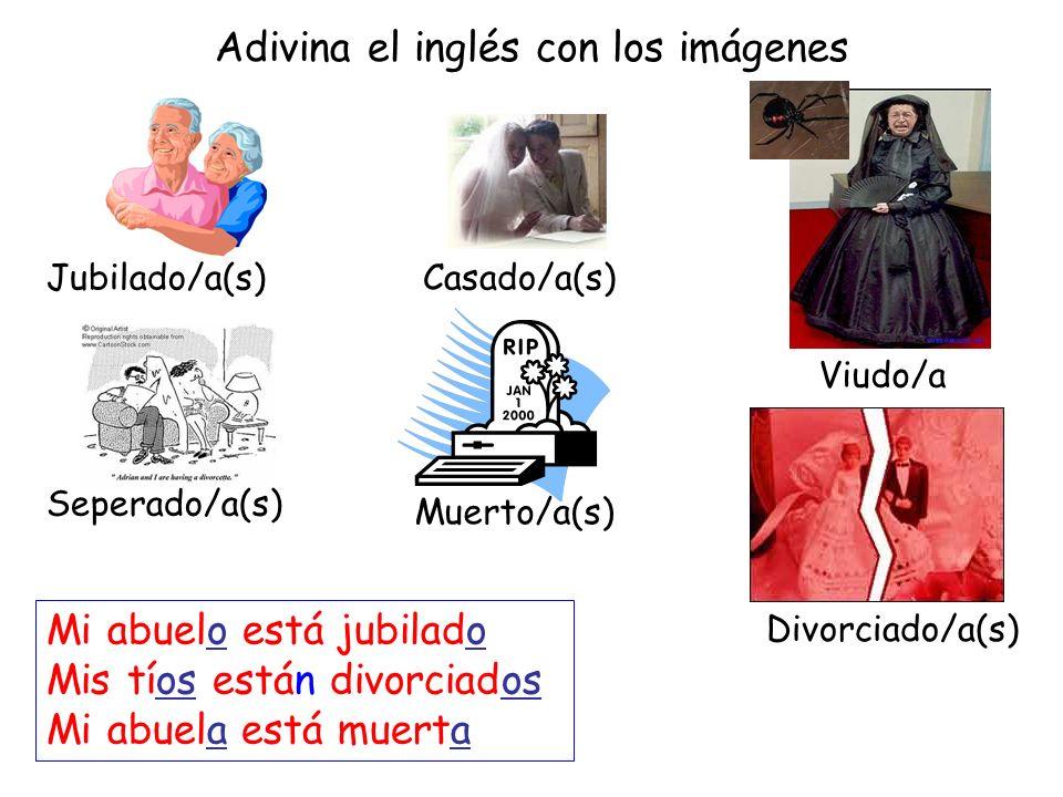 Adivina el inglés con los imágenes Jubilado/a(s) Viudo/a Casado/a(s) Seperado/a(s) Muerto/a(s) Divorciado/a(s) Mi abuelo está jubilado Mis tíos están