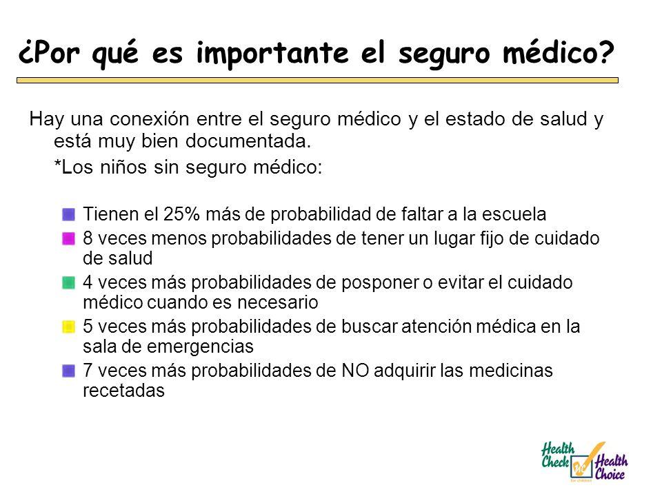 ¿Por qué es importante el seguro médico? Hay una conexión entre el seguro médico y el estado de salud y está muy bien documentada. *Los niños sin segu