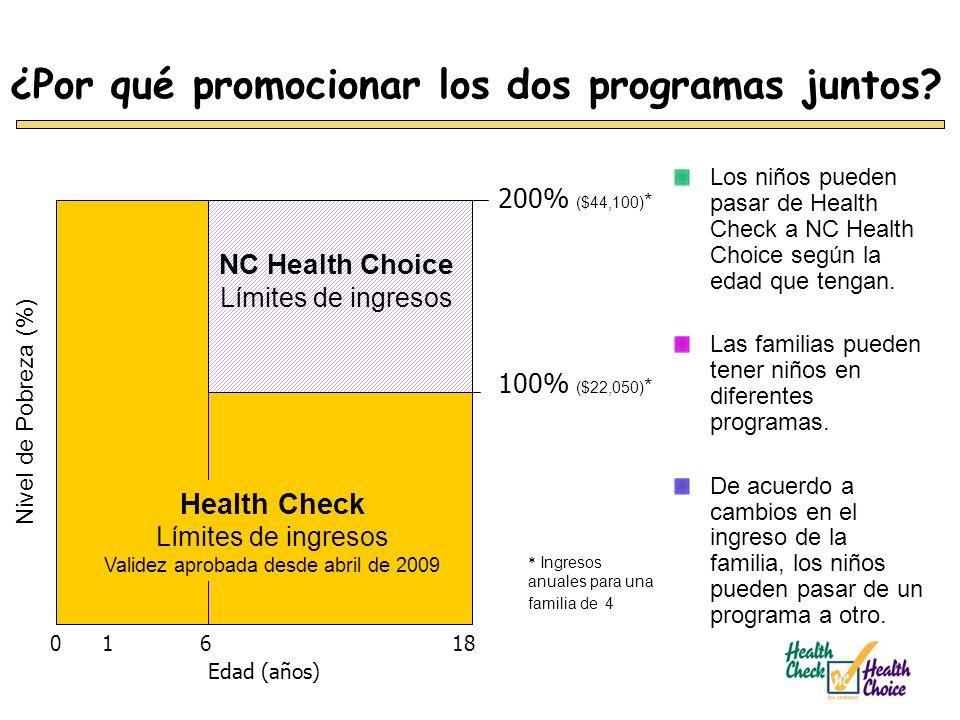¿Por qué promocionar los dos programas juntos? Los niños pueden pasar de Health Check a NC Health Choice según la edad que tengan. Las familias pueden
