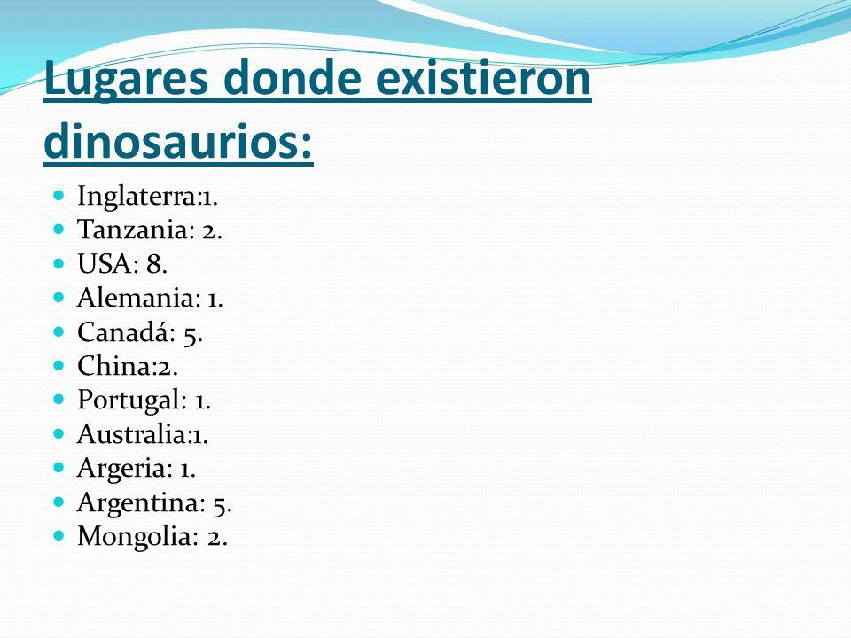 Lugares donde existieron dinosaurios: Inglaterra:1. Tanzania: 2. USA: 8. Alemania: 1. Canadá: 5. China:2. Portugal: 1. Australia:1. Argeria: 1. Argent