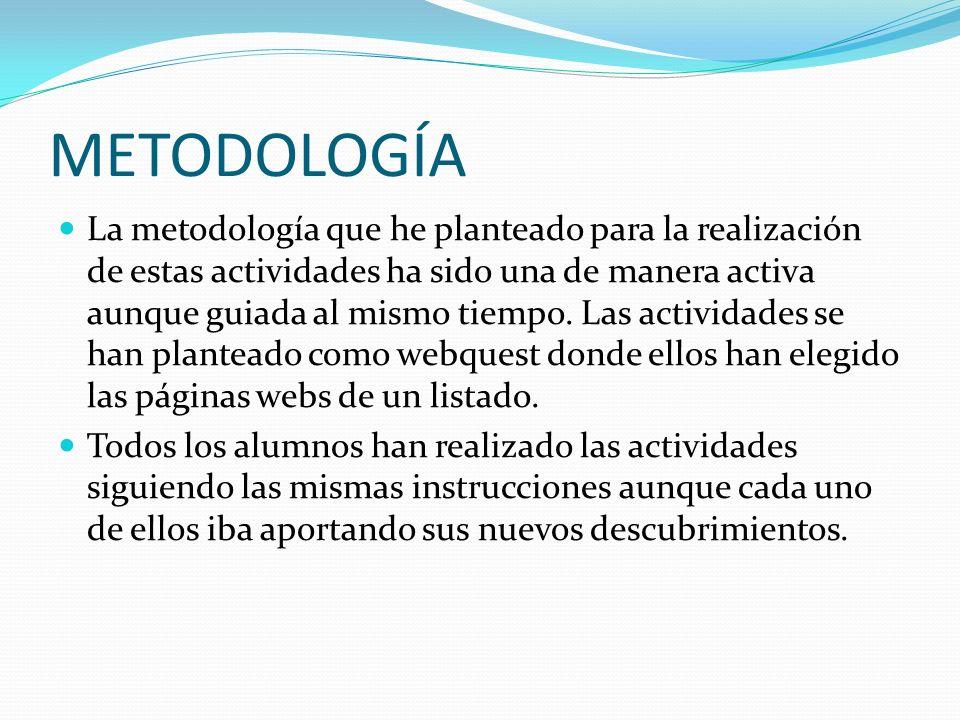 METODOLOGÍA La metodología que he planteado para la realización de estas actividades ha sido una de manera activa aunque guiada al mismo tiempo. Las a