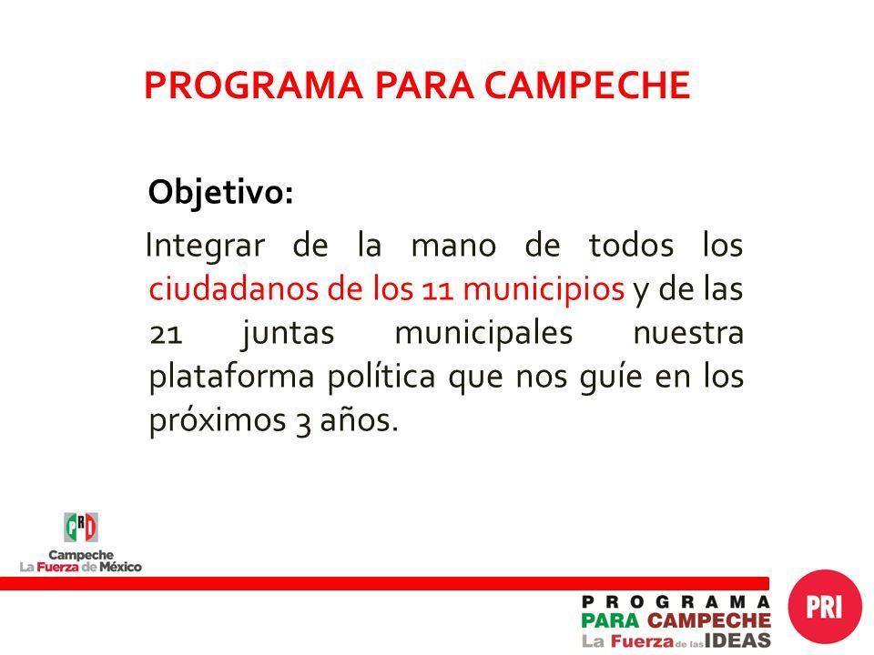Objetivo: Integrar de la mano de todos los ciudadanos de los 11 municipios y de las 21 juntas municipales nuestra plataforma política que nos guíe en los próximos 3 años.