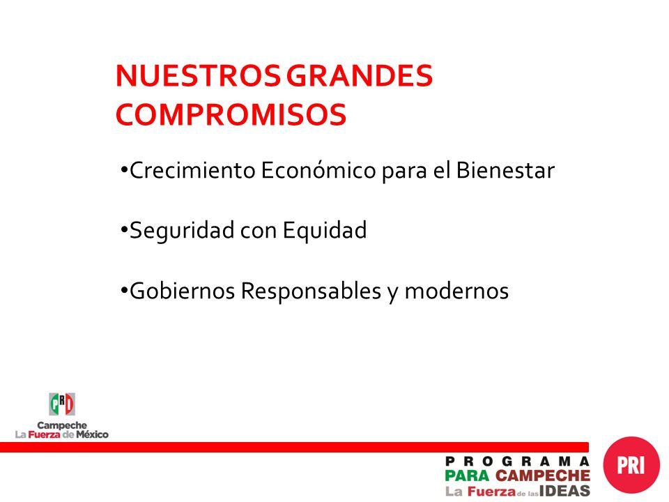 Crecimiento Económico para el Bienestar Seguridad con Equidad Gobiernos Responsables y modernos NUESTROS GRANDES COMPROMISOS