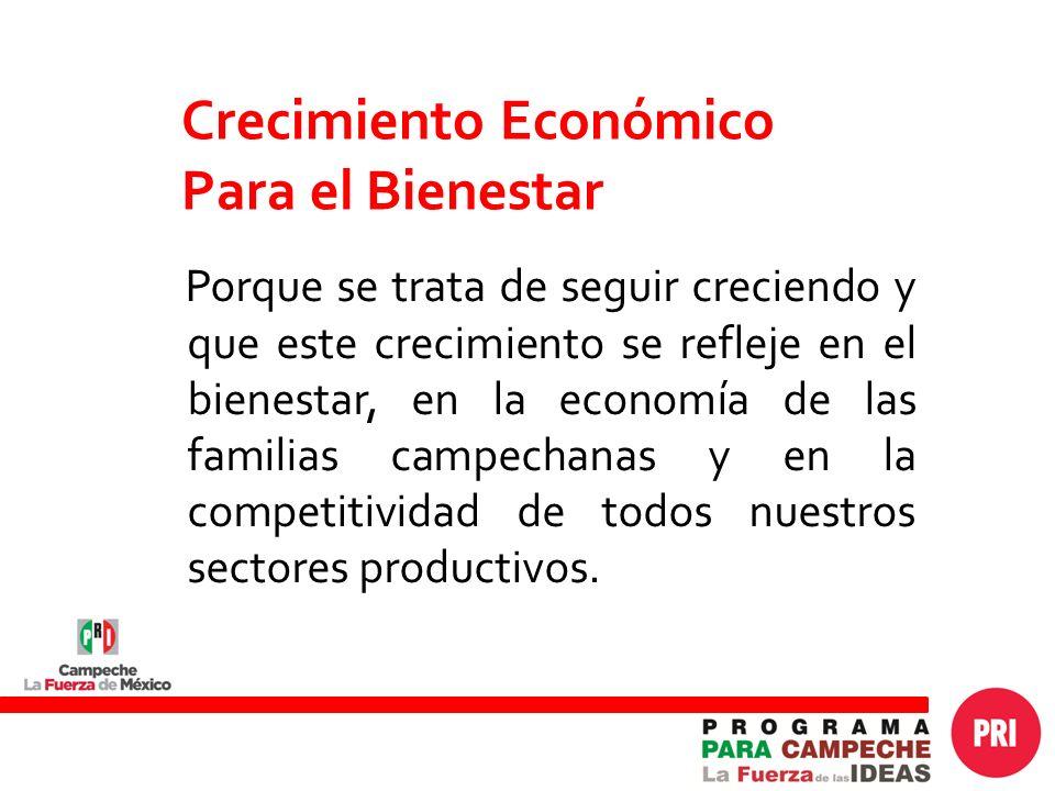 Crecimiento Económico Para el Bienestar Porque se trata de seguir creciendo y que este crecimiento se refleje en el bienestar, en la economía de las familias campechanas y en la competitividad de todos nuestros sectores productivos.