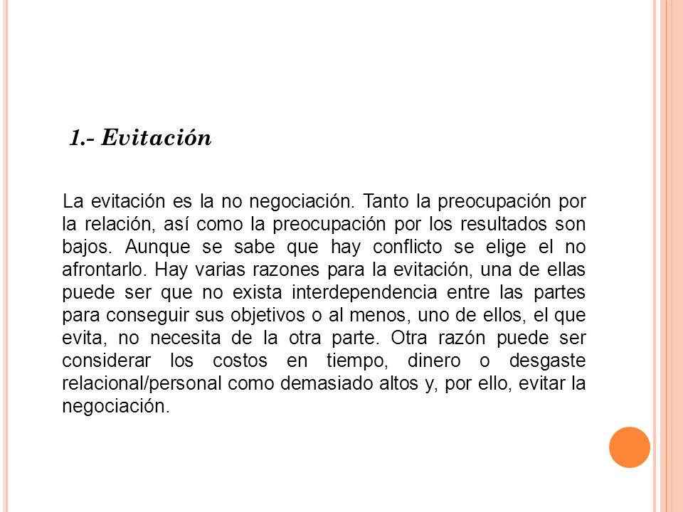 1.- Evitación La evitación es la no negociación. Tanto la preocupación por la relación, así como la preocupación por los resultados son bajos. Aunque