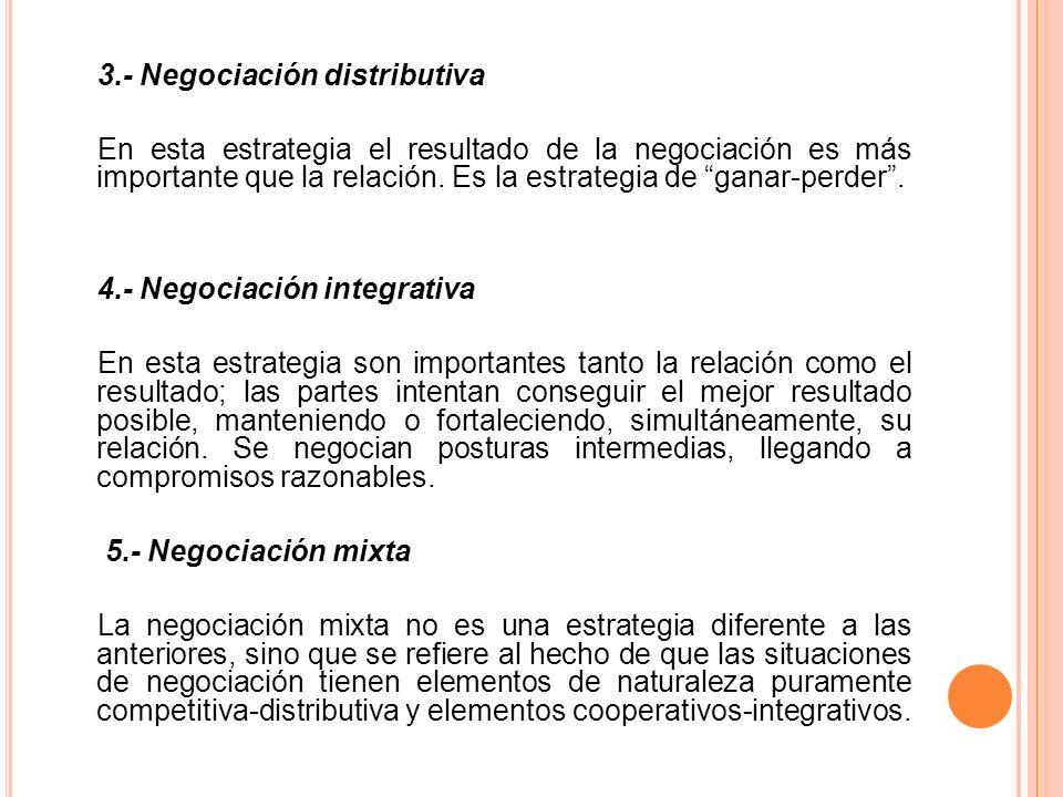 3.- Negociación distributiva En esta estrategia el resultado de la negociación es más importante que la relación. Es la estrategia de ganar-perder. 4.