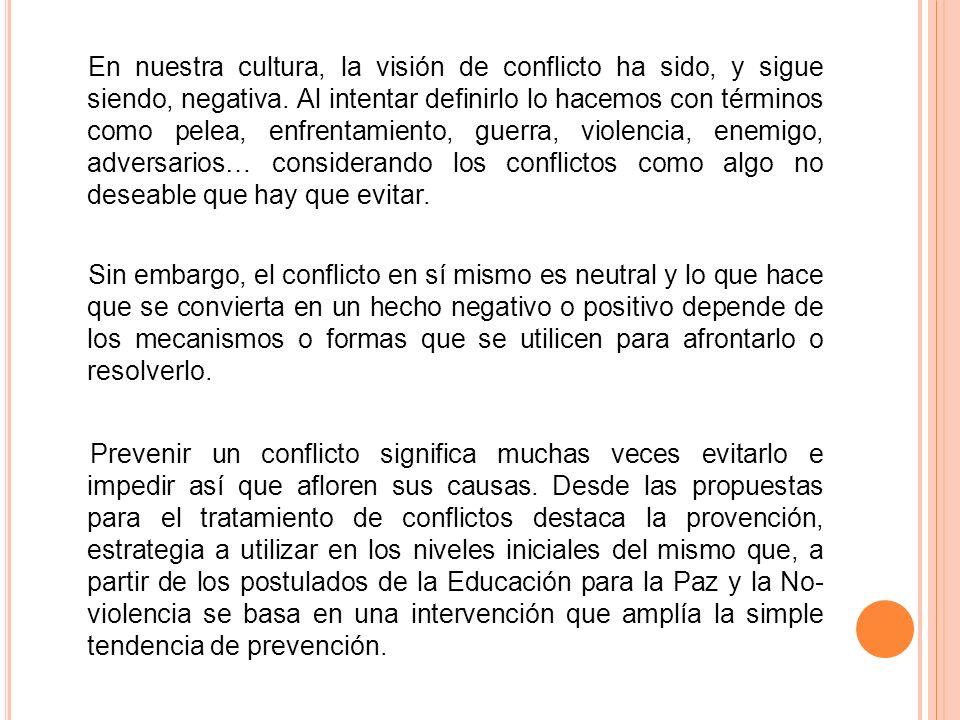 En nuestra cultura, la visión de conflicto ha sido, y sigue siendo, negativa. Al intentar definirlo lo hacemos con términos como pelea, enfrentamiento