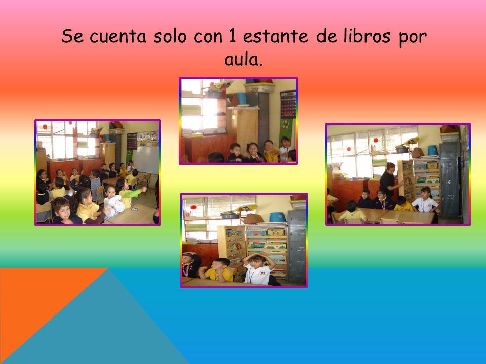 Se cuenta solo con 1 estante de libros por aula.