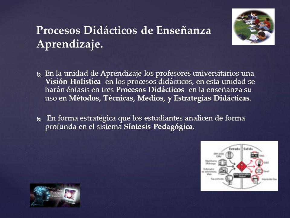 En la unidad de Aprendizaje los profesores universitarios una Visión Holística en los procesos didácticos, en esta unidad se harán énfasis en tres Pro