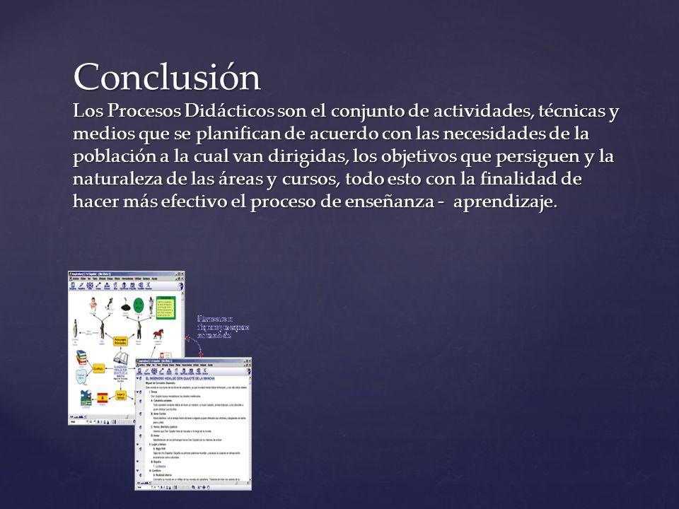 Conclusión Los Procesos Didácticos son el conjunto de actividades, técnicas y medios que se planifican de acuerdo con las necesidades de la población