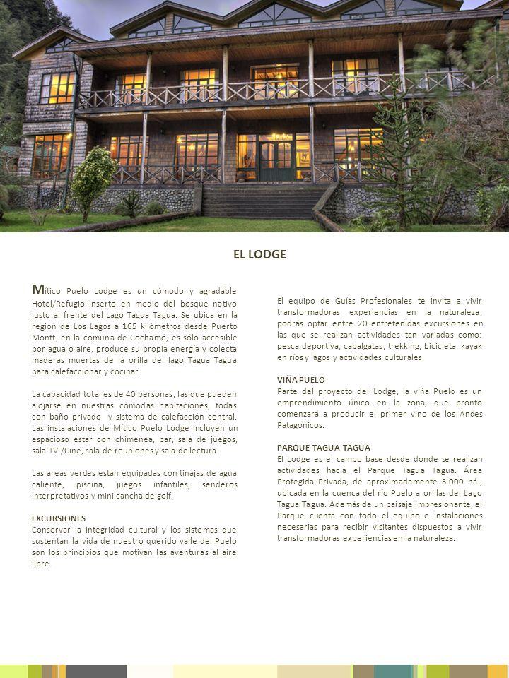 M ítico Puelo Lodge es un cómodo y agradable Hotel/Refugio inserto en medio del bosque nativo justo al frente del Lago Tagua Tagua. Se ubica en la reg