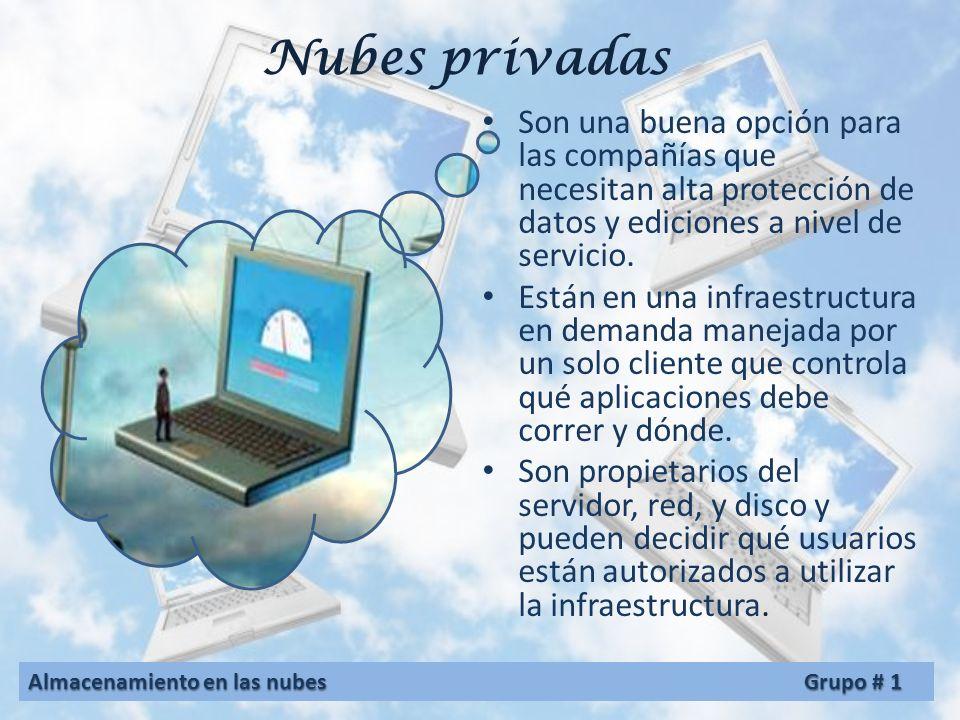 Nubes públicas Se manejan por terceras partes, y los trabajos de muchos clientes diferentes pueden estar mezclados en los servidores, los sistemas de