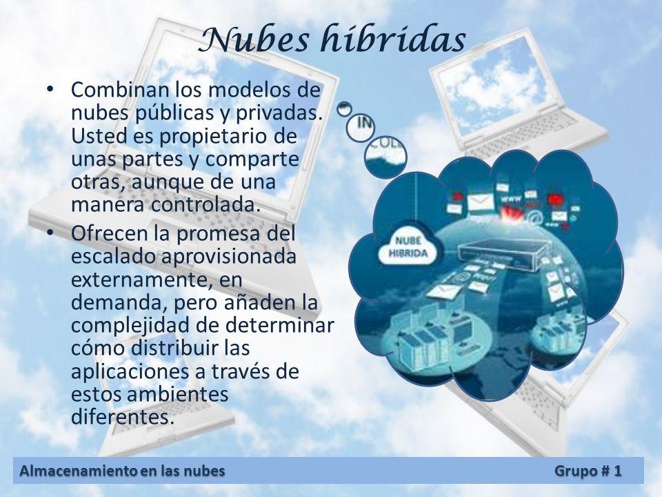 Nubes comunitarias Son aquellas en las que la infraestructura tecnológica se comparte entre diversas organizaciones que mantienen objetivos similares,