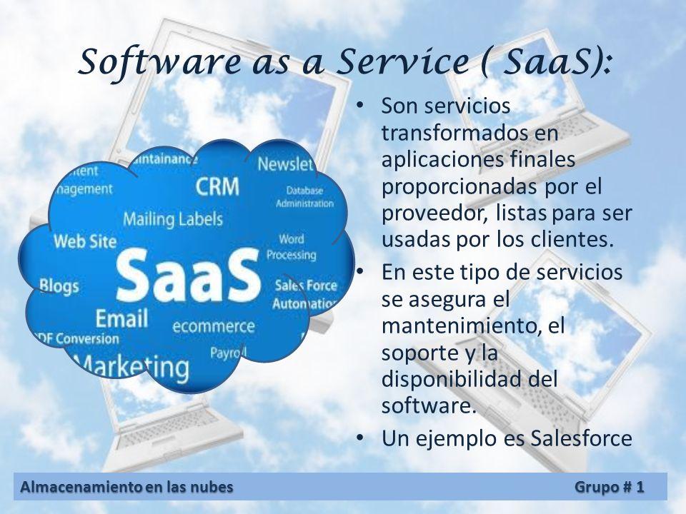 Tipo de servicio La computación en nube se sustenta en tres pilares fundamentales: software, plataforma, e infraestructura. Cada pilar cumple un propó