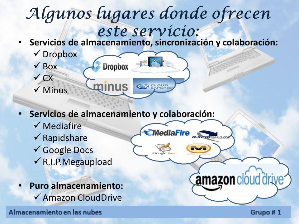 Servicios de almacenamiento en las nubes Los servicios de almacenamiento en la nube pueden accederse a través de una interfaz de programación de aplic