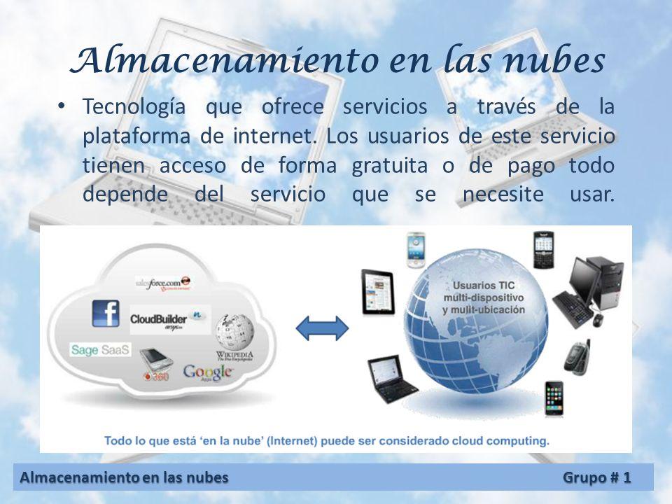 Almacenamiento en las nubes Grupo #1 Integrantes: Carrillo G. Beny Axel 8-480-1003 Cedeño, José 8-841-611 González, Aideé A. 8-412-758 Ríos, Andrea 8-