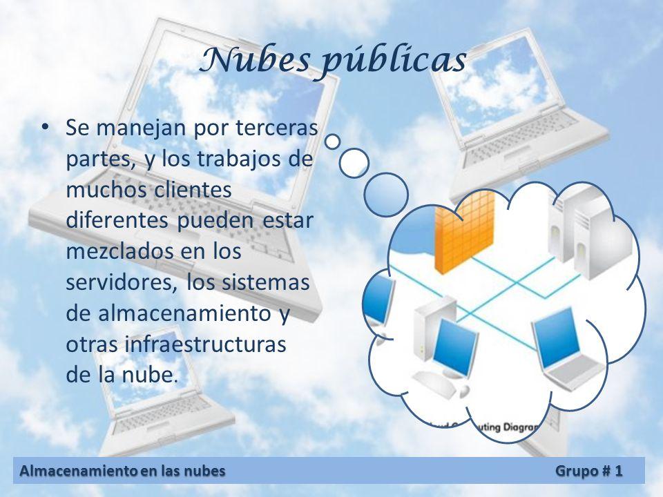 Nubes públicas Se manejan por terceras partes, y los trabajos de muchos clientes diferentes pueden estar mezclados en los servidores, los sistemas de almacenamiento y otras infraestructuras de la nube.