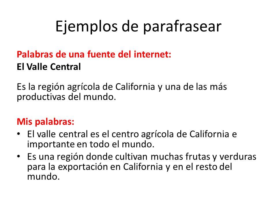 Ejemplos de parafrasear Palabras de una fuente del internet: El Valle Central Es la región agrícola de California y una de las más productivas del mundo.
