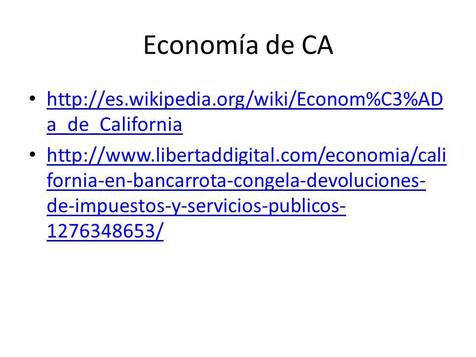 Economía de CA http://es.wikipedia.org/wiki/Econom%C3%AD a_de_California http://es.wikipedia.org/wiki/Econom%C3%AD a_de_California http://www.libertaddigital.com/economia/cali fornia-en-bancarrota-congela-devoluciones- de-impuestos-y-servicios-publicos- 1276348653/ http://www.libertaddigital.com/economia/cali fornia-en-bancarrota-congela-devoluciones- de-impuestos-y-servicios-publicos- 1276348653/