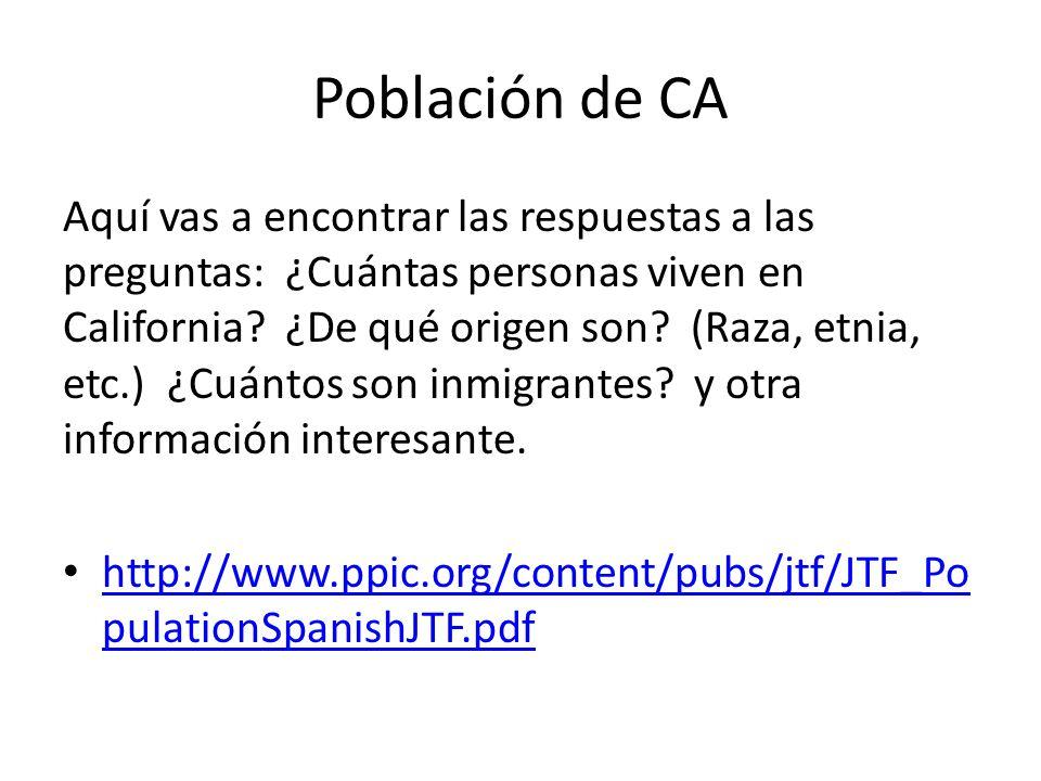Población de CA Aquí vas a encontrar las respuestas a las preguntas: ¿Cuántas personas viven en California.