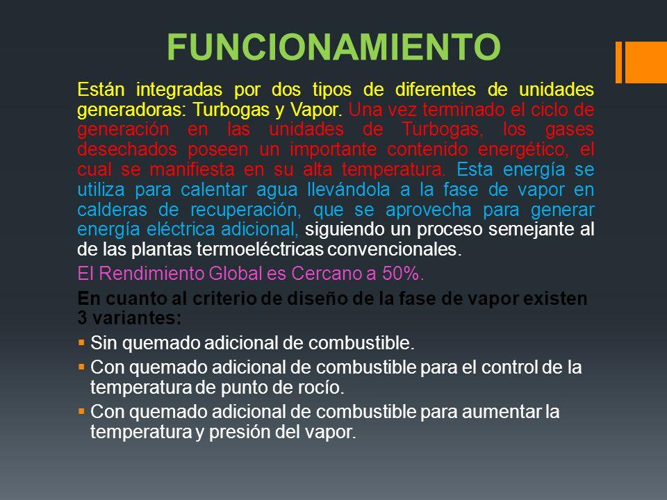 FUNCIONAMIENTO Están integradas por dos tipos de diferentes de unidades generadoras: Turbogas y Vapor.