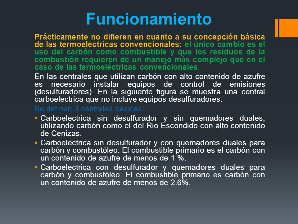 Funcionamiento Prácticamente no difieren en cuanto a su concepción básica de las termoeléctricas convencionales; el único cambio es el uso del carbón como combustible y que los residuos de la combustión requieren de un manejo más complejo que en el caso de las termoeléctricas convencionales.