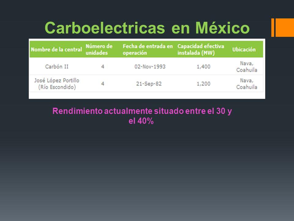 Carboelectricas en México Rendimiento actualmente situado entre el 30 y el 40%