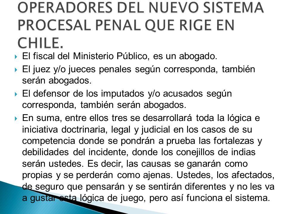 El fiscal del Ministerio Público, es un abogado. El juez y/o jueces penales según corresponda, también serán abogados. El defensor de los imputados y/