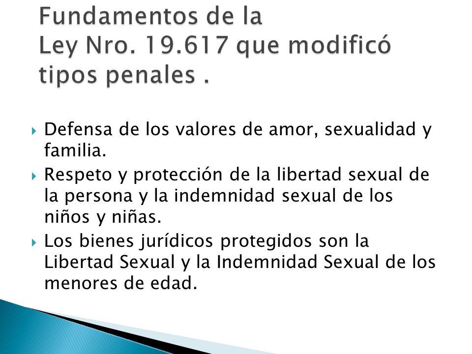 Defensa de los valores de amor, sexualidad y familia. Respeto y protección de la libertad sexual de la persona y la indemnidad sexual de los niños y n