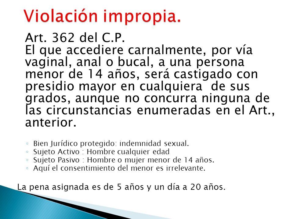 Art. 362 del C.P. El que accediere carnalmente, por vía vaginal, anal o bucal, a una persona menor de 14 años, será castigado con presidio mayor en cu