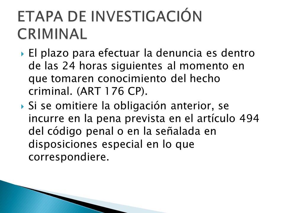 El plazo para efectuar la denuncia es dentro de las 24 horas siguientes al momento en que tomaren conocimiento del hecho criminal. (ART 176 CP). Si se