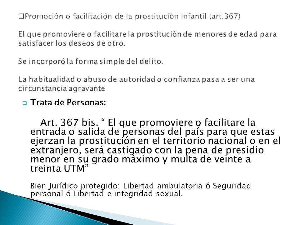Trata de Personas: Art. 367 bis. El que promoviere o facilitare la entrada o salida de personas del país para que estas ejerzan la prostitución en el
