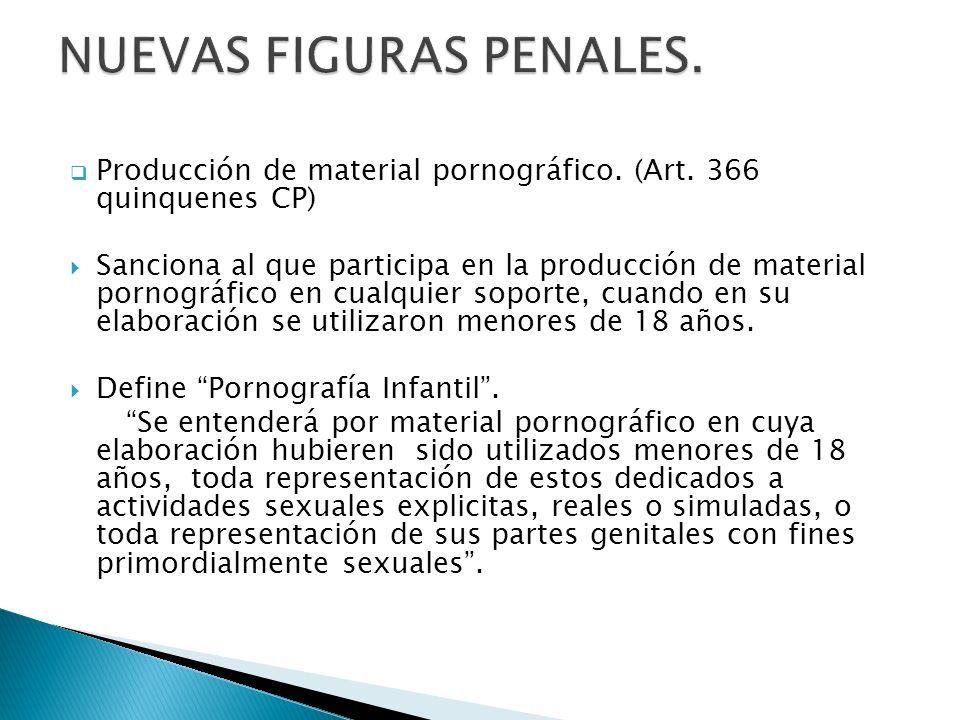 Producción de material pornográfico. (Art. 366 quinquenes CP) Sanciona al que participa en la producción de material pornográfico en cualquier soporte