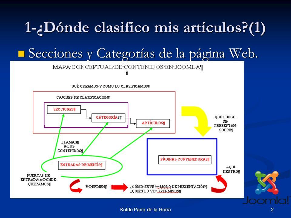 2Koldo Parra de la Horra 1-¿Dónde clasifico mis artículos (1) Secciones y Categorías de la página Web.