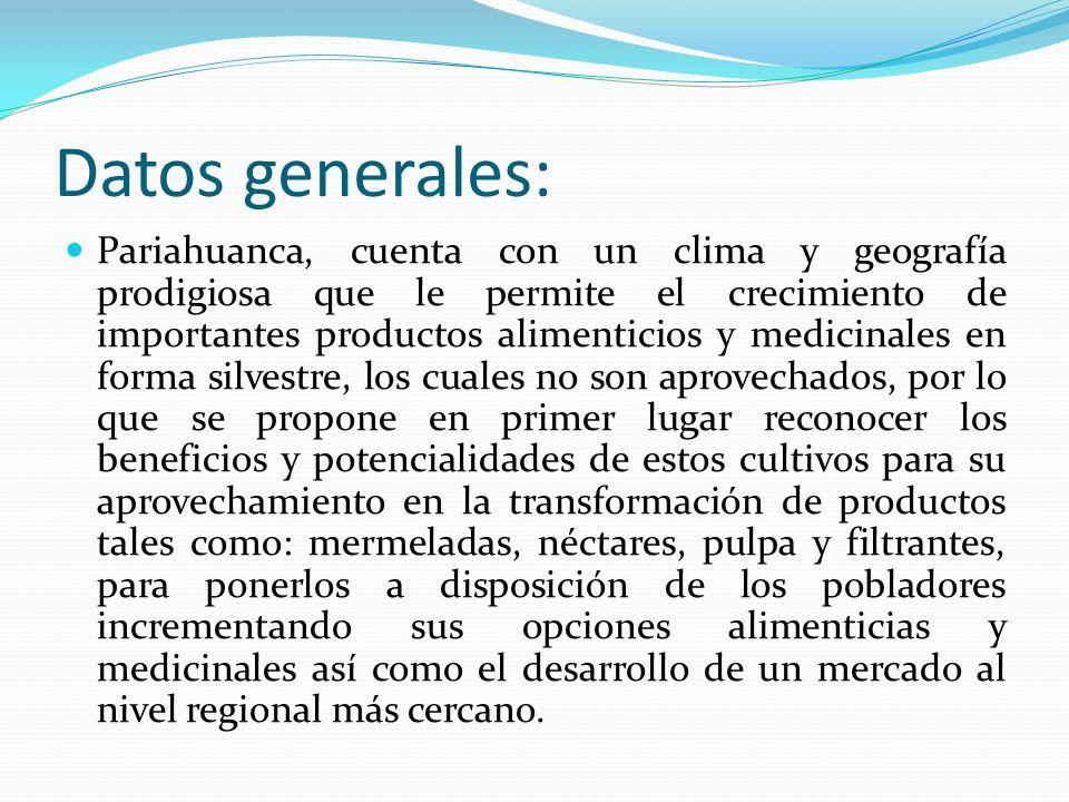 Datos generales: Pariahuanca, cuenta con un clima y geografía prodigiosa que le permite el crecimiento de importantes productos alimenticios y medicin