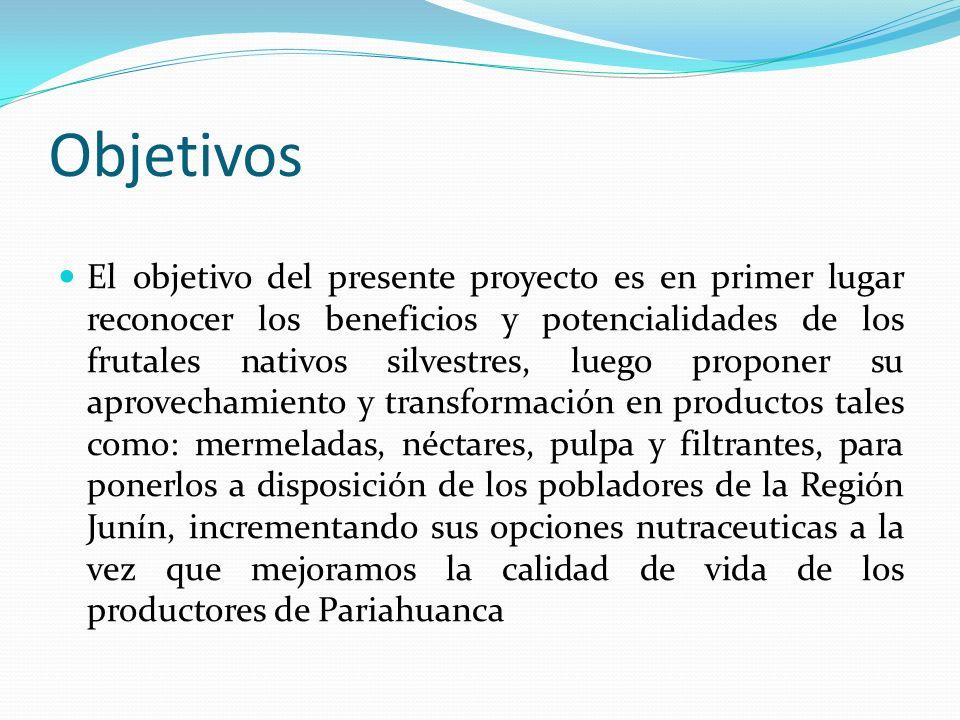 Objetivos El objetivo del presente proyecto es en primer lugar reconocer los beneficios y potencialidades de los frutales nativos silvestres, luego pr