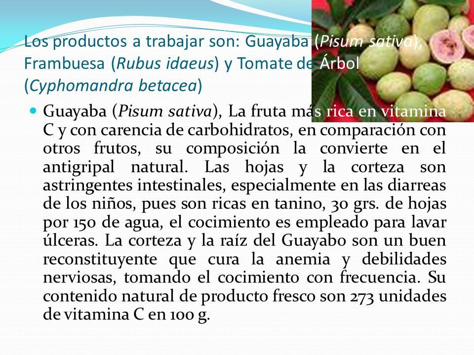 Los productos a trabajar son: Guayaba (Pisum sativa), Frambuesa (Rubus idaeus) y Tomate de Árbol (Cyphomandra betacea) Guayaba (Pisum sativa), La frut