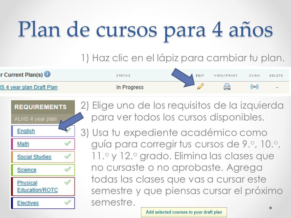 Plan de cursos para 4 años 1) Haz clic en el lápiz para cambiar tu plan. 2) Elige uno de los requisitos de la izquierda para ver todos los cursos disp