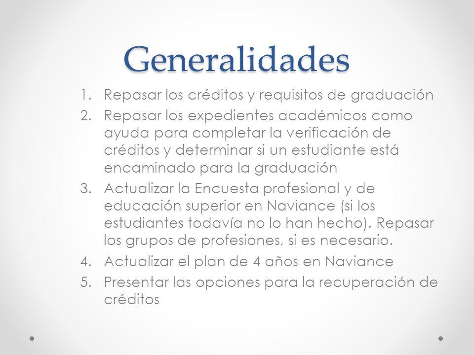 Generalidades 1.Repasar los créditos y requisitos de graduación 2.Repasar los expedientes académicos como ayuda para completar la verificación de créd
