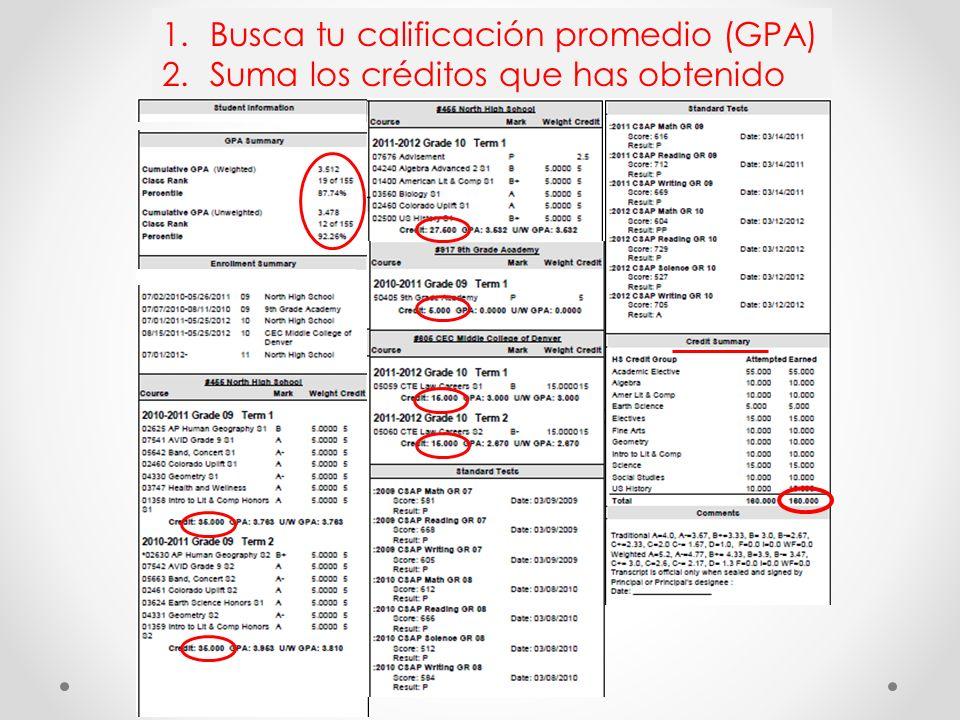 1.Busca tu calificación promedio (GPA) 2.Suma los créditos que has obtenido