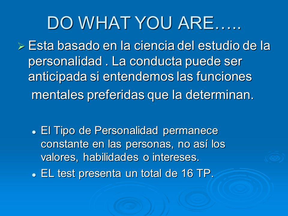 DO WHAT YOU ARE….. Esta basado en la ciencia del estudio de la personalidad. La conducta puede ser anticipada si entendemos las funciones Esta basado