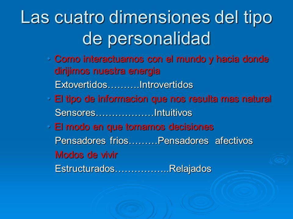 Las cuatro dimensiones del tipo de personalidad Como interactuamos con el mundo y hacia donde dirijimos nuestra energiaComo interactuamos con el mundo