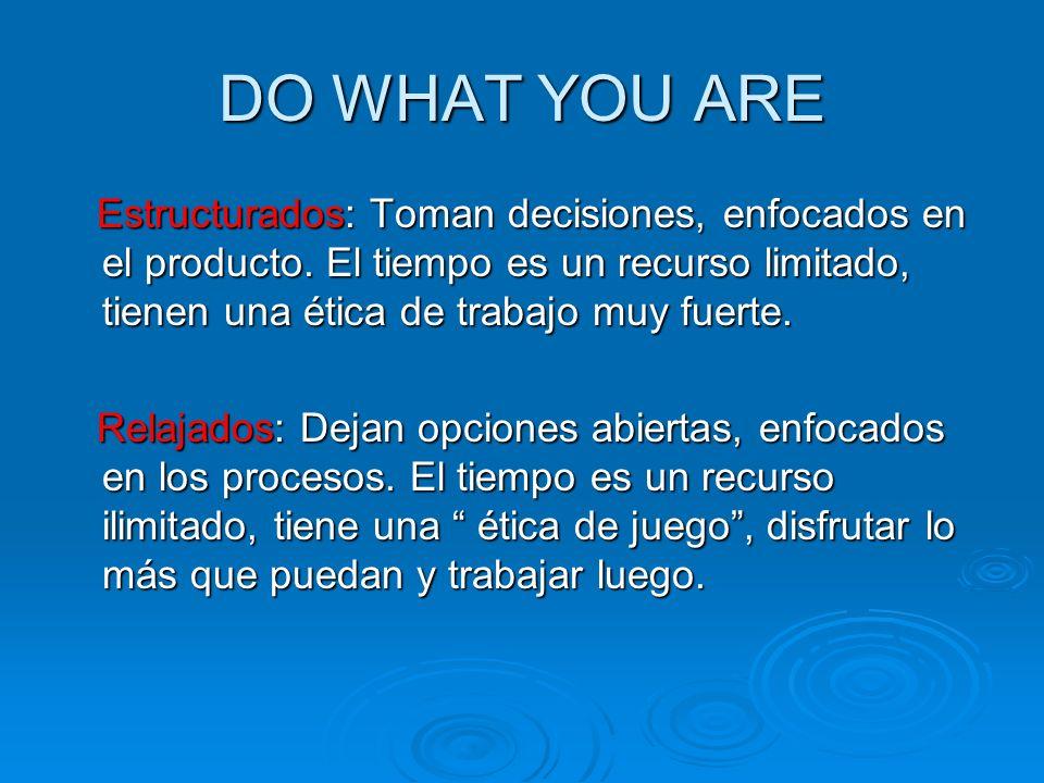 DO WHAT YOU ARE Estructurados: Toman decisiones, enfocados en el producto. El tiempo es un recurso limitado, tienen una ética de trabajo muy fuerte. E