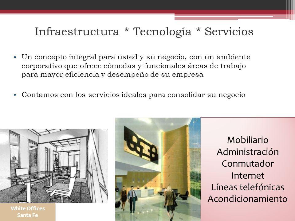 Infraestructura * Tecnología * Servicios Un concepto integral para usted y su negocio, con un ambiente corporativo que ofrece cómodas y funcionales ár