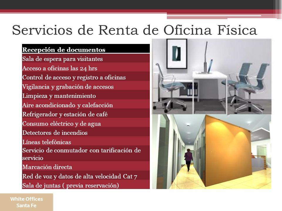 Servicios de Renta de Oficina Física Recepción de documentos Sala de espera para visitantes Acceso a oficinas las 24 hrs Control de acceso y registro